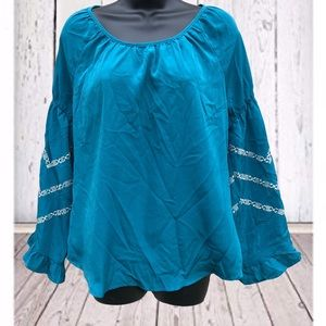 West 36th | Teal Peasant Blouse | Large